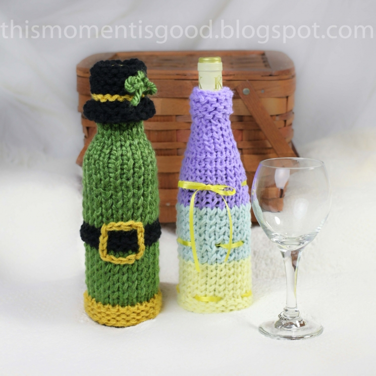 WINE BOTTLE COVERS, LOOM KNITTING PATTERN! SIX UNIQUE HOLIDAY WINE BOTTLE COVER