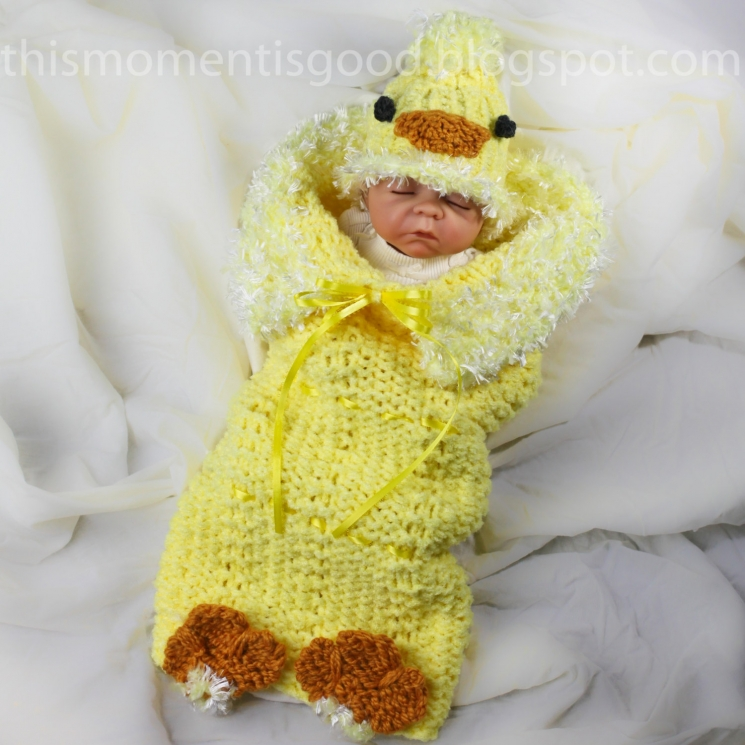 Loom Knitting Baby Hat Patterns : Loom knit newborn baby chick cocoon pattern this moment