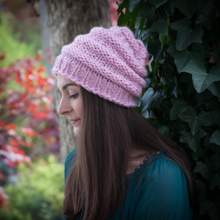 Loom Knit Hat Pattern, Slouch Hat, Beanie, Textured, Bulky, Chunky Knit Hat. PDF
