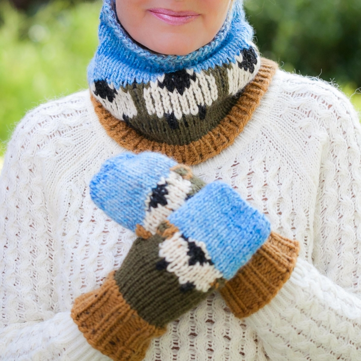 Loom Knit Sheep Themed Hat, Mitten and Cowl PATTERN Set