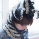 LOOM KNIT ZEBRA HOOD WITH COWL PATTERN
