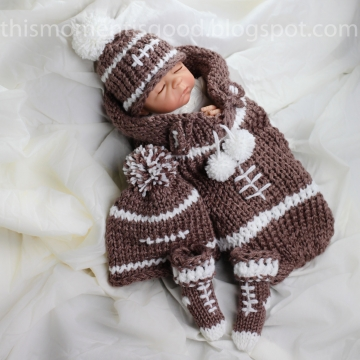 Loom Knit newborn cocoon PATTERN, loom knit hat pattern loom knit booties PATTERN Football Themed Cocoon, hat booties Pattern, PDF Download.