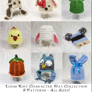 Loom Knit Character Hat PATTERN Collection, 9 Adorable PATTERNS included: Bunny, Lamb, Frog, Pumpkin, Puppy, Aviator, Owl, Chick.pom-pom hat