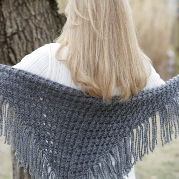 Loom Knit Eyelet Triangle Shawl PATTERN. Lace Scarf Pattern.PDF Pattern is available for immediate download.