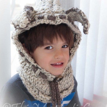 Loom Knit Puppy Dog Hood with cowl PATTERN. Rustic, Chunky hood/cowl PATTERN. Instant PDF Download. Toddler and Child sizes.