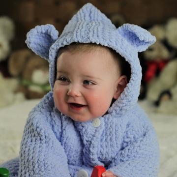 Loom Knit Baby Bear Robe