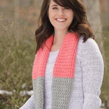 Coral and Gray Infinity Scarf