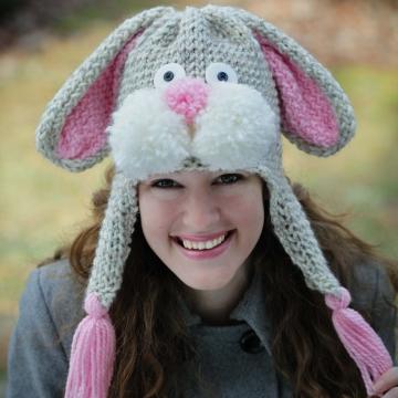 Loom Knit Rabbit Hat