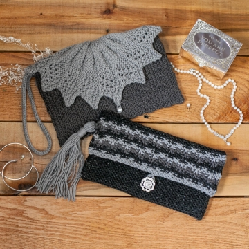 Loom Knit Clutch, Purse, Evening Bag, Wristlet PATTERNS. Elegant Evening Bag, Wedding and Party Purse. 2 PDF Pattern Set.