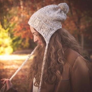 Loom Knit Earflap Hat PATTERN, Split Brim Hat, Bulky, Chunky Knit, Tassels, Braids, PDF PATTERN Download.